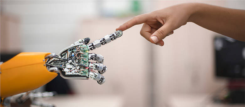 Robot finger touching a human finger