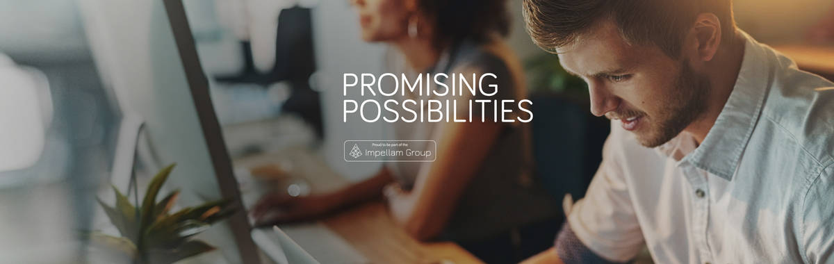 "People working on computers. Tag line reads ""Promising possibilities"". Stamp reads"